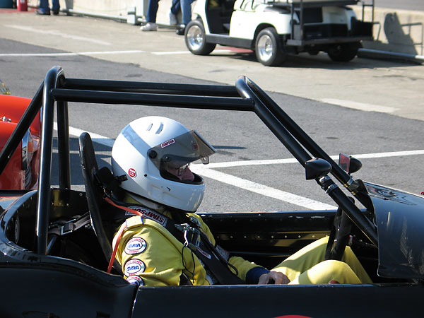 Pat Ryan awaits the start of the Group One race of the U.S. Vintage Grand Prix of Watkins Glen.