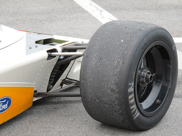 The McLaren team was Goodyear sponsored and ran Goodyear tires throughout M23/1's career.