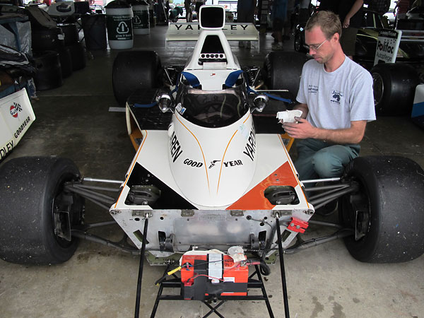 The McLaren M23's monocoque tub was fabricated from 16 gage aluminum.