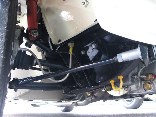 Rachel upgraded lower control arm inboard connections from stock rubber bushes to Heim joints.
