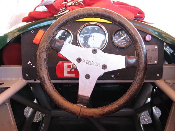 Vintage Momo steering wheel mounted on a quick release hub.