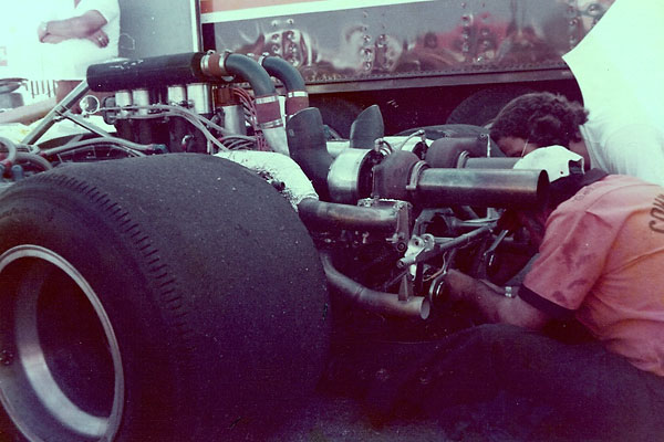 Commander's Barry Crowe developed a unique turbocharger installation for the team's McLaren M20.