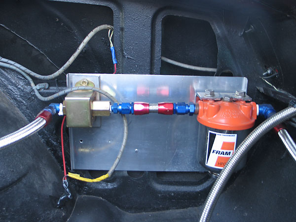 Facet electronic fuel pump. Fram racing fuel filter.