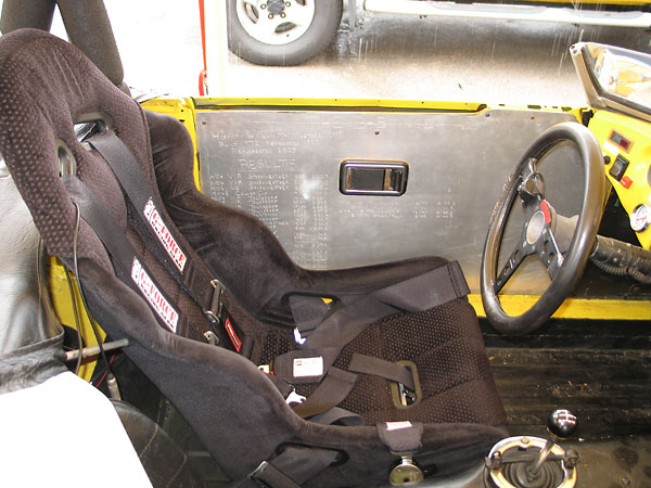 Momo Corse Rookie driver's seat. G-Force five point Camlock safety harness.
