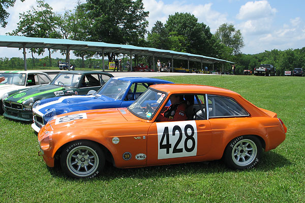 MGB GT V8 racecars at V.I.R.