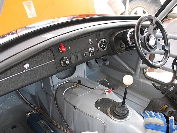 Right hand drive steering, and the classic steel dashboard of early model MGB's.