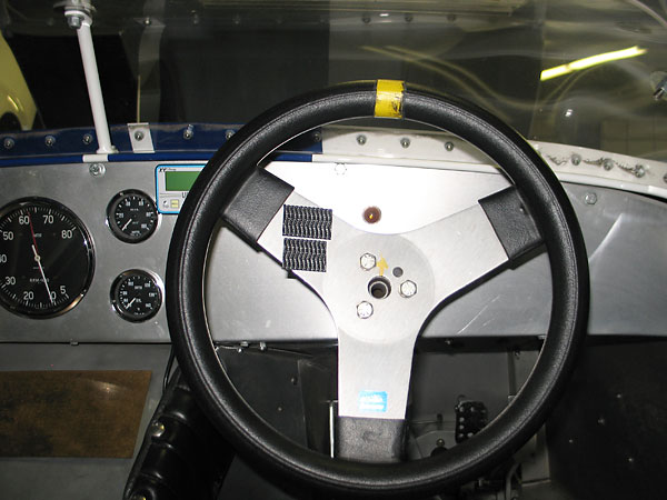 Schroeder Racing Products steering wheel, mounted on a quick-release steering wheel hub.