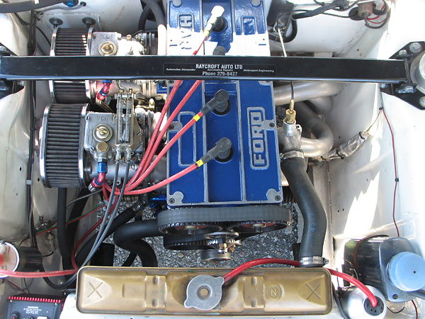 Ford-Cosworth BDA 2L engine with 16-valve, dual overhead cam cylinder head.