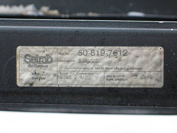 Setrab Oil Coolers Part no. 50-619-7612, Description 619M22l.