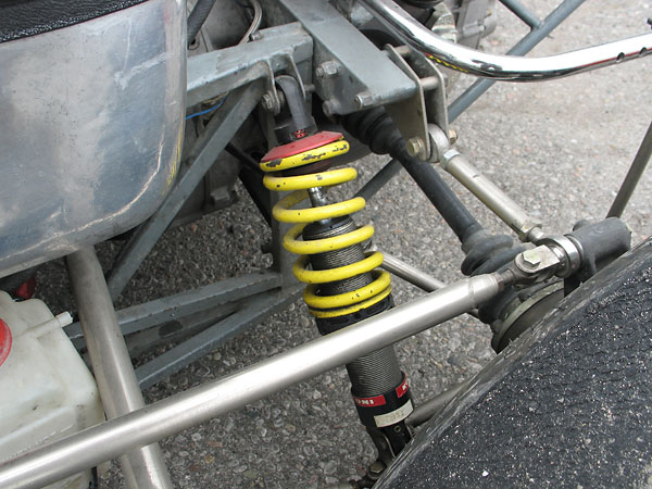 KONI double-adjustable aluminum-bodied coilover shock absorbers.